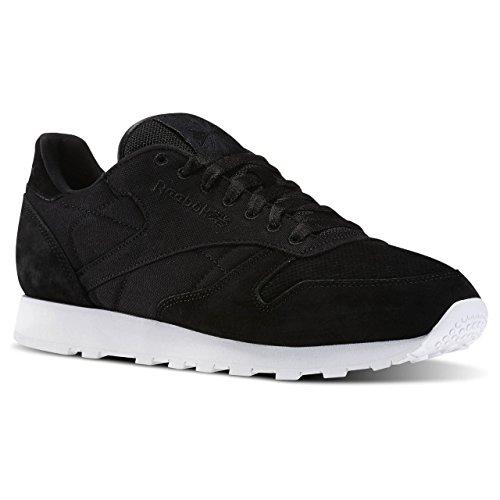 Reebok Homens Cl Couro Cc V70836 Sapatos Pretos (preto E Branco)