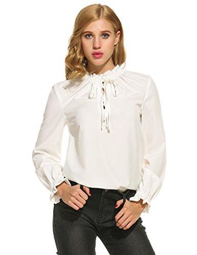 Finejo Damen Elegant Langarmbluse mit Volants Blusen Fest Muster XL Blau (Rüschen-kragen Bluse)