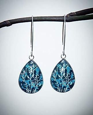 Boucles d'oreilles longues arbre fleuri bleu, cabochon goutte en verre, long crochet acier inoxydable argent