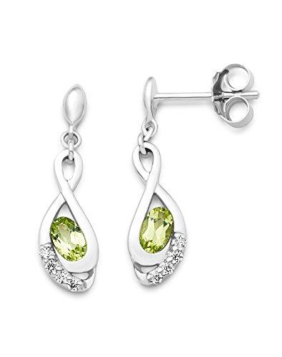 Miore Ohrringe Damen Hängend Silberfarbig 925 Sterling Silber Rundschliff Zirkonia Steinchen mit Peridot
