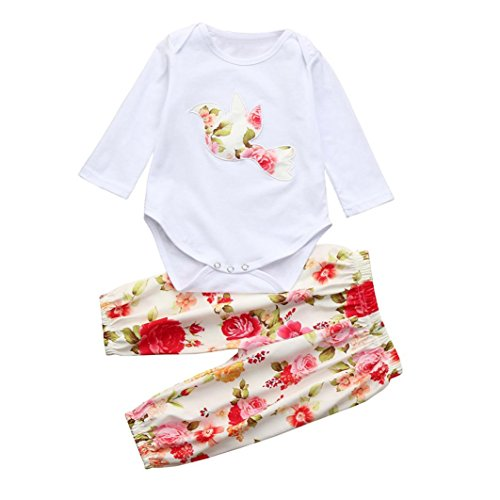 4405aa3869030 Ensembles pantalons et haut Bébé Longra Uni Manches longues Body Bébé Fille  T-shirt Bébé
