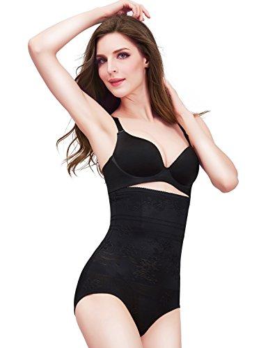 Amhillras Damen Miederslip mit Bauch weg Effekt Shapewear figurenformend Miederpants Figur formende Unterwäsche Schwarz