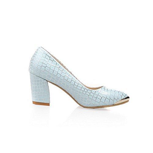 Blau Pumps Ziehen Gemischte Hoher Farbe Pu Allhqfashion Auf Schuhe Zehe Absatz Damen Spitz 7411URqgw