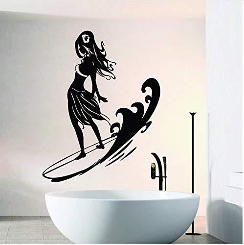 d auf Surfbrett Wandtattoos Zuhause Wohnzimmer Sport Serie dekorative Vinyl Wandapplikation Surfen Spiel Wandbild 42x42cm ()