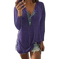 Geili Damen Herbst Casual Langarmshirt Frauen Knöpfen Schlitz Pullover Bluse Basic Einfarbige T Shirt Locker Hemd... preisvergleich bei billige-tabletten.eu