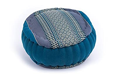 Zafu Meditationskissen mit Füllung aus Kapok 35 x 20 (Thaimuster hellblau)
