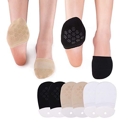 Puimentiua 1/3/6 Paar Damen Zehlinge Füßlinge Socken Unsichtbare Zehensocken mit Rutschfestem Silkon für High Heels Ballerina