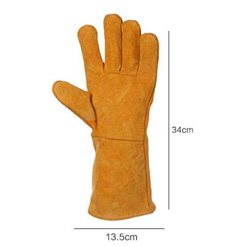 MTG Schweißhandschuhe, Schweißer-Handwärmer-Handschuhe Hochtemperatur-Grill-Langfutter-Futter-Schweißer-Hülle Holzfeuer-Handschuhe Arbeitshandschuhe Hitzebeständig Sicher und bequem