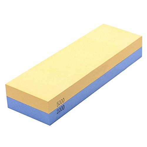 Wetzstein für Messer, Soriace® Professionell Abziehstein Messer, 2000#/5000# Doppelseitig Japanisch Schleifstein Manuelle Messerschärfer mit Rutschfest Silikonhalter, 18×6×3CM
