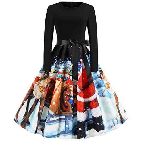 Canifon Frauen Jahrgang Weihnachten Print Patchwork Kleider Damen Rundhals Reißverschluss Bow Hepburn Party Kleid