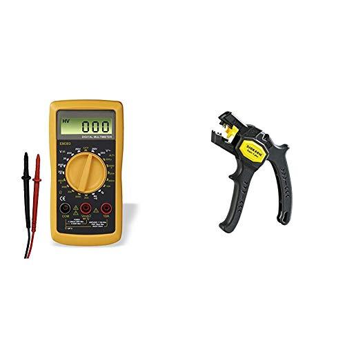 Hama Digital Multimeter (Spannungsmesser, Stromprüfer, Widerstand) Strommessgerät schwarz/gelb & Jokari 20050 Abisolierzange Super 4 plus