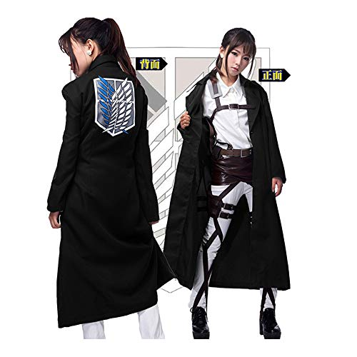 Memory meteor Attack on Titan (Shingeki No Kyojin) Cosplay Jacket Man Women Trench Coat Cosplay Costume Black,XL