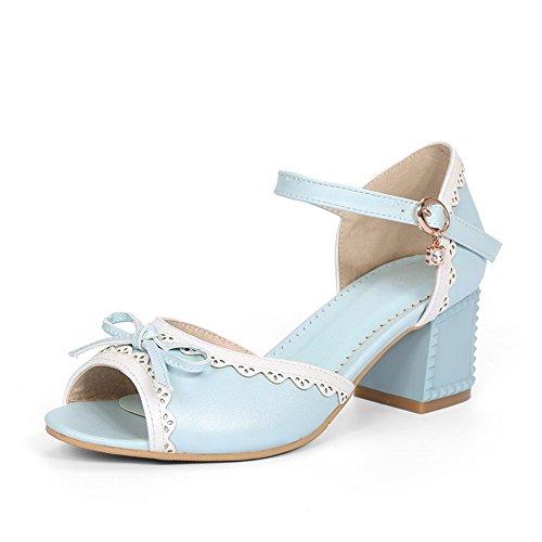 AllhqFashion Damen Offener Zehe Mittler Absatz Gemischte Farbe Schnalle Sandalen Blau