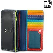 c78e5d0787711b DUDU Damen Geldbörse RFID-Abschirmung aus echtem Leder Multicolor mit  Münzfach und Druckknopf-Verschluss