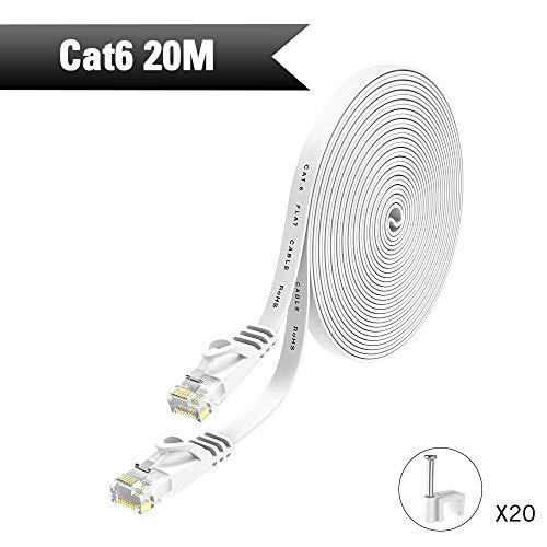 HopeU5-Ethernet-Kabel 20m, Cat6-Netzwerkkabel RJ45-Hochgeschwindigkeits-Patchkabel flach für Switch, Router, Modem, Patchpanel, PC und mehr - Weiß -