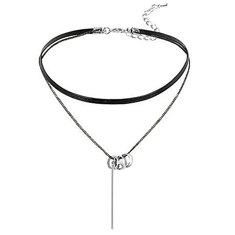 Epinki Damen Choker (Verstellbar), Halskette Gliederkette Leder Drei O-Ring Streifen Form Anhänger Gothic Halsband Silber Schwarz mit Zirkonia, 35.2+6.5 (Jane The Hunter Kostüm)