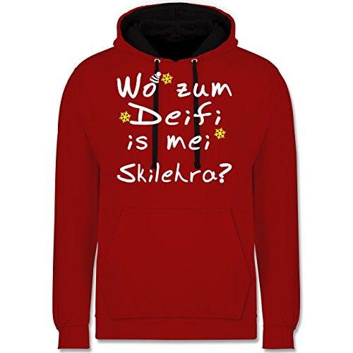 Wintersport - Wo zum Deifi is mei Skilehra - Kontrast Hoodie Rot/Schwarz