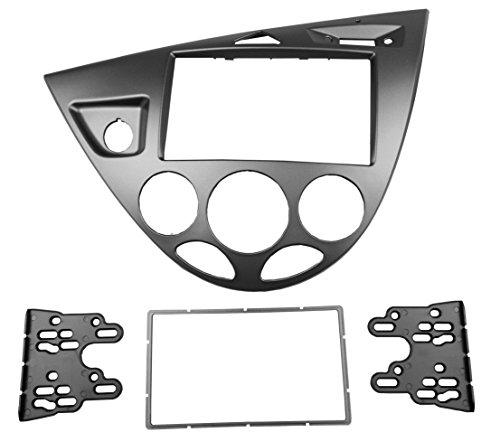MAXIOU Doppel-Din Autoradio DVD Fascia Stereo Armaturenbrett Frontplatte Rahmen Panel Dash Mount Trim Kit Adapter Frontblende Lünette 2 Din (Silber) Stereo Dash Mount