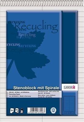 Landré 100050287 Stenoblock RCP - recycling 60 g/qm, A5, liniert mit roter Mittellinie, 40 Blatt