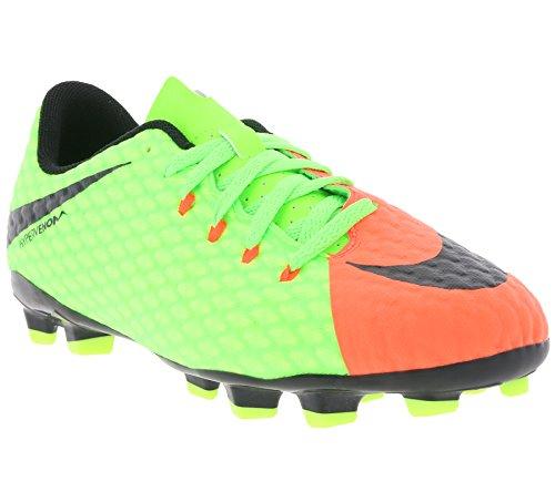 Nike Jr Hypervenomx Phelon 3 Fg, Scarpe da Calcio Unisex – Bambini Corallo e verde fluo