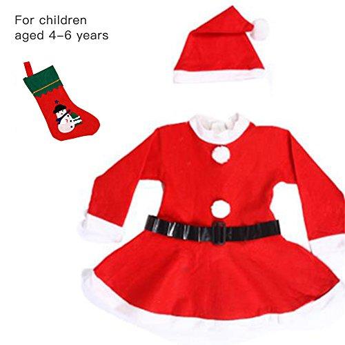 Nicky 4-teilig Gr. M Weihnachtsmann Kostüm für Mädchen -
