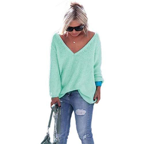 ESAILQ Frau Langarm-Strickpullover Loose Sweater Jumper Tops Strickwaren(Medium,Grün)
