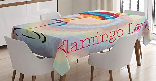 ABAKUHAUS Flamingo Tischdecke, Regenbogen farbige Vögel, Für den Inn und Outdoor Bereich geeignet Waschbar Druck Klar Kein Verblassen, 140 x 170 cm, Mehrfarbig (Regenbogen-farbigen Tischdecken)