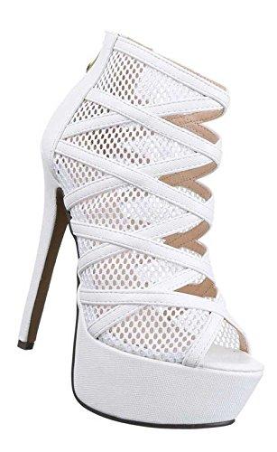 Damen-Schuhe Pumps | Frauen High Heels mit Plateau und 15 cm Stiletto-Absatz in verschiedenen Farben und Größen | Schuhcity24 | Sandaletten mit perforiertem Muster | Peep Toe mit Reißverschluss Weiß