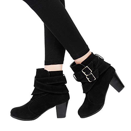 Anglewolf Women Casual Buckle Strap Shoes Martin Boots Suede Ankle High Heeled Boot Womens Black Ladies Sexy Heels Platform Fashion Zipper Thin Heel Party Gifts Leather Western Short