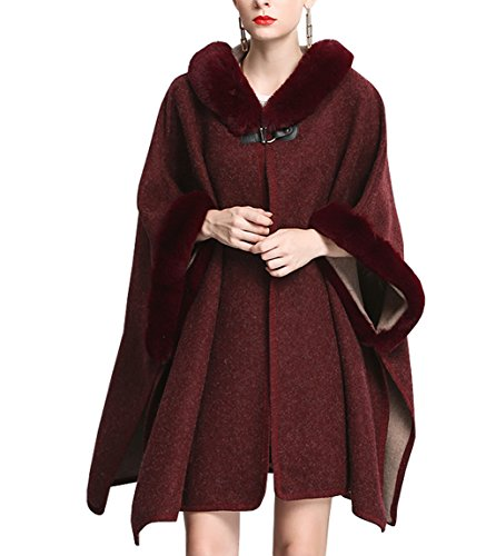 KAXIDY Abrigos Mujer Chaqueta Abrigo Moda Piel de Imitación Ponchos Abrigos para Primavera Otoño e Invierno (Vino Rojo)