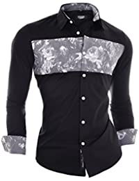 D&R Fashion Men's Slim Fit Shirt with Flower Chest and Finishings Overprint