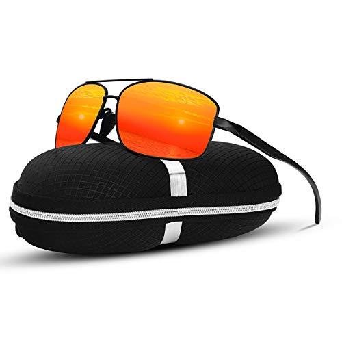 SUNMEET Polarisierte Sonnenbrille Herren Sportbrille Fahren Ultralight Metall Sonnenbrille für Männer S1006(Orange Schwarz)
