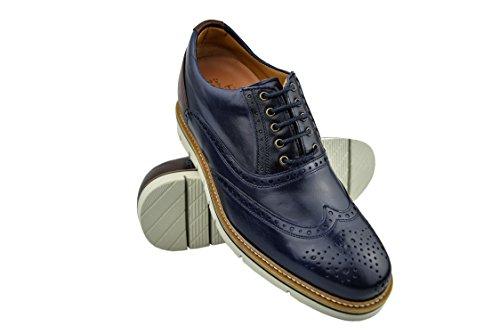 ZERIMAR Zapatos con Alzas Interiores para Hombres Aumento 7 cm | Zapatos de Hombre con Alzas Que Aumentan su Altura Color Azul Marino-Marron Talla 41