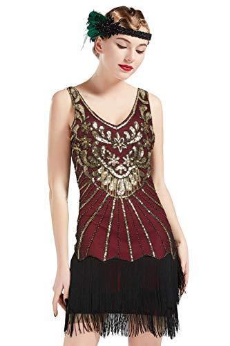 ArtiDeco Damen Kleid Retro 1920er Stil Flapper Kleider mit Zwei Schichten Troddel V Ausschnitt Great Gatsby Motto Party Kleider Damen Kostüm Kleid (Weinrot Gold - Stil 2, S (Fits 74-78 cm Waist))