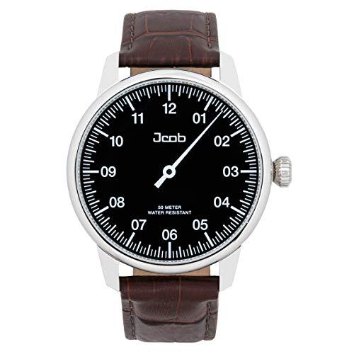 Jcob Einzeiger Uhr JCW002-LS01 Herren Schwarz Lederarmband Braun