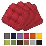 Beautissu Set da 6 cuscini Lisa 40x40x8cm per sedie e panche da giardino - rosso - soffice imbottitura senza lacci