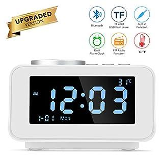 Multifunktions Smart Alarm Clock Digital FM Uhren Bluetooth Lautsprecher Radio Snooze Funktion Indoor Thermometer mit USB Port Lade (Weiß)
