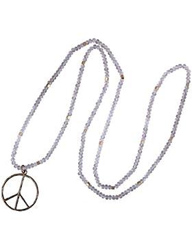 KELITCH Klassisch Frieden Kennzeichen Liebe Hippie Anhänger Auf Matt Kristall Wulstig Halskette (Weiß)