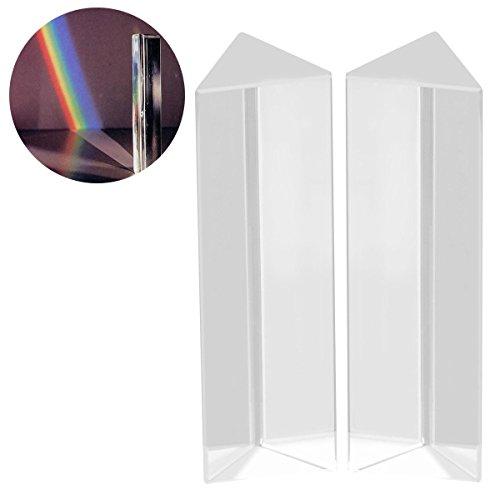 UEETEK 2 Stück Kristall optischen Glas dreieckigen Prisma für Unterricht in Physik Lichtspektrum,10 * 3 * 3 CM -