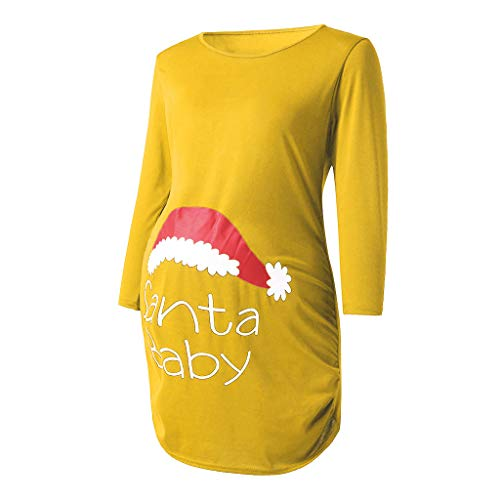 Alwayswin Damen Weihnachten Umstandsmode 3/4 Ärmel Mutterschaft Top Seite Geraffte Tuniken Einfarbig Print Schwangerschaft Kleidung Lange Bluse Mode Langarm T-Shirt Sweatshirt -
