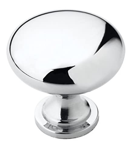 "Amerock BP5300526 Allison Value 1-1/4"" Diameter Plain Mushroom Cabinet Knob with Flat Circular Bas, Polished Chrome by Amerock"