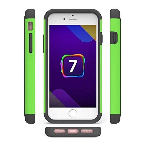 iPhone 7 hülle,Lantier Fußball Muster [Stoßdämpfende] Hartplastik mit weichen Silikon Dual Layer Rüstung Defender Case Schutzhülle für Apple iPhone 7 4.7 Zoll Lila Football pattern Green