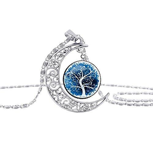 Contever® Charms Anhänger Halskette Crescent Moon mit Lebensbaum Glasanhänger (Melancholisch-Serie) (Opal Moon Halskette)