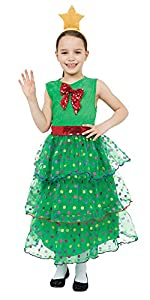 Bristol Novelty CC666 Traje Árbol de Navidad, Mediano, Altura 122-134 cm, Edad aprox 5-7 años