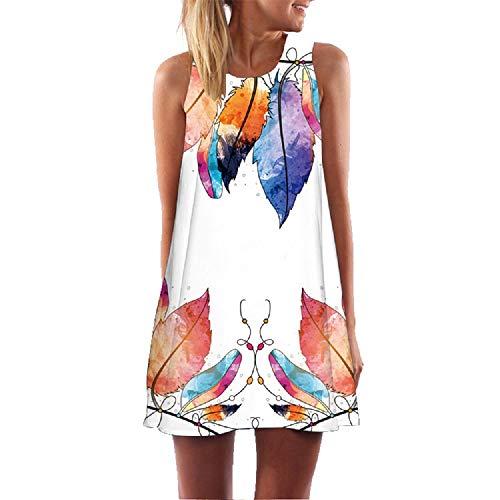 TUDUZ Damen Sommer Vintage Boho Ärmelloses Sommerstrand Gedruckt Kurzes Minikleid Blumenkleid T-Shirt Tops Kleider-Faschingskostüme Mode 2019