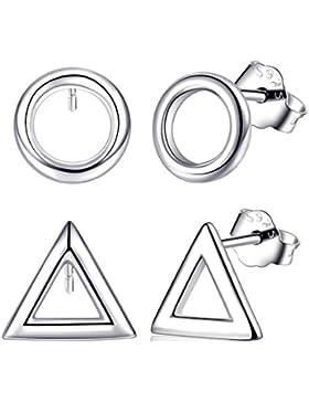 2 Paare Silber Ohrringe Stecker für Unisex Fashmond Schlicht Ohrstecker für Damen und Herren, Dreieck Ring Nickelfrei...