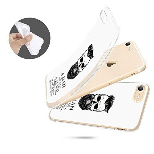 finoo   iPhone 8 Weiche flexible Silikon-Handy-Hülle   Transparente TPU Cover Schale mit Motiv   Tasche Case Etui mit Ultra Slim Rundum-schutz  Schmetterling bunt Man Beard