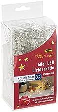 Idena guirnalda de bombillas LED 48-unidades, con Temporizador, para interiores, longitud 4,26 m, funciona con pilas, luz blanca cálida 30437