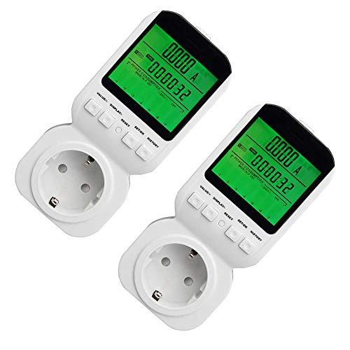 Hll-036 eu elettricità potenza contatore energia consumo meter, con hd display lcd retroilluminato volt amps watt kwh analizzatore (2pack)