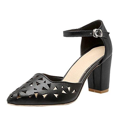 Mee Shoes Damen süß ankle strap chunky heels Pumps Schwarz